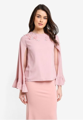 Zalia pink Embellished Cape Top With Frill 52777AA5B59926GS_1