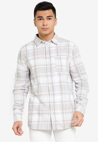 Cotton On grey and white Washed Long Sleeve Check Shirt FFCF5AA0DF34BFGS_1