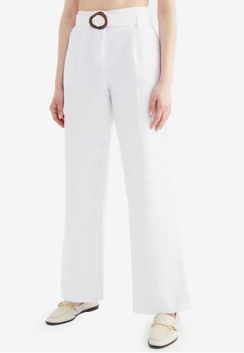 Trendyol white Belted Wide Leg Pants CA237AA01EB032GS_1