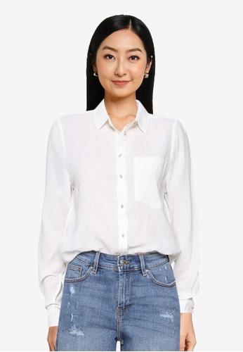 Springfield white Organic Cotton Linen Blouse B1CB2AAAD732C5GS_1
