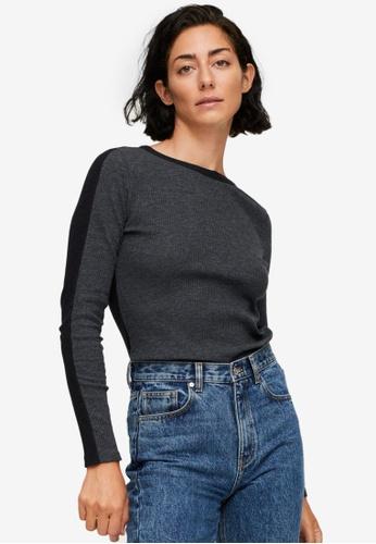 Mango grey Ribbed Long-Sleeved T-Shirt FCC68AAA3E6D3EGS_1