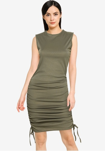 Public Desire green Round Neck Ruched Dress 4E63AAA30D0C2DGS_1