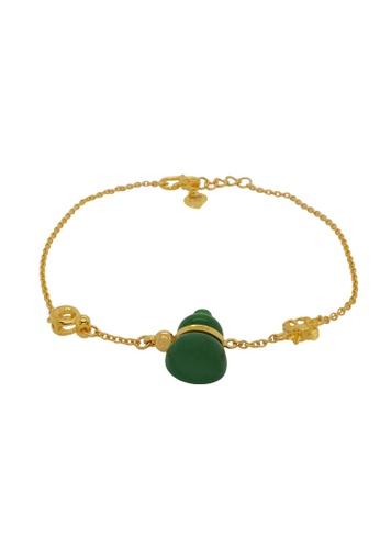 LITZ green and gold LITZ 999 (24K) Gold and Jade Gourd Bracelet 29D92AC2CB70F1GS_1