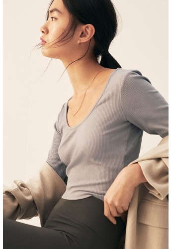 H&M grey Ribbed cropped top C5EA0AA717C7E8GS_1