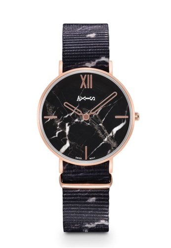 Axis black and white and pink AXIS -  Real Marble Face,Unique Nato Strap Design, Quartz Watch 43094ACFF9AA3CGS_1