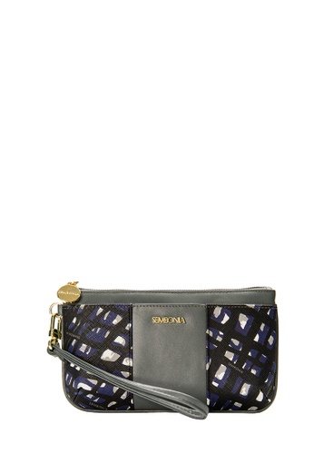 SEMBONIA grey SEMBONIA Coated Canvas Trimmed Leather Wristlet (Light Grey) SE598AC0SS2VMY_1