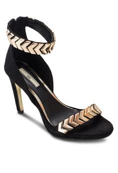 金飾繞踝高跟涼鞋