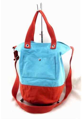Esther Accessories orange Canvas Bucket Bag with shoudler strap --- Lake blue/Orange ES153AC13BPIHK_1