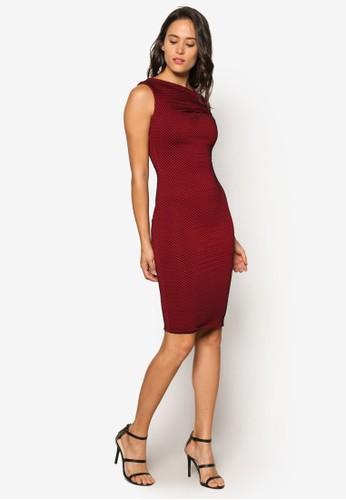 不對稱領口點點及膝連身裙, 服飾,zalora 折扣碼 洋裝