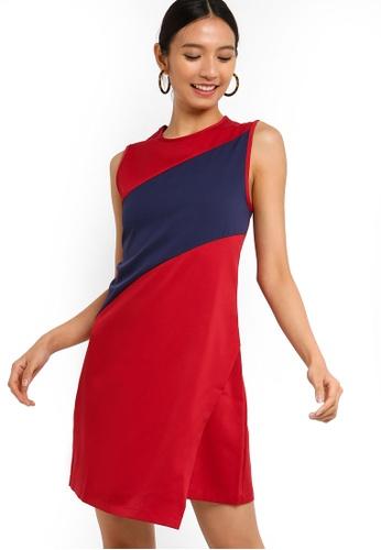 ZALORA 紅色 and 海軍藍色 撞色拼接洋裝 CE887AA6FEAEE0GS_1