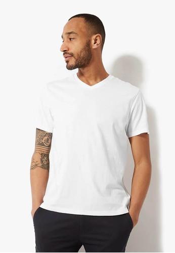MARKS & SPENCER white Cotton V-Neck T-Shirt 41AB2AA6384BC9GS_1
