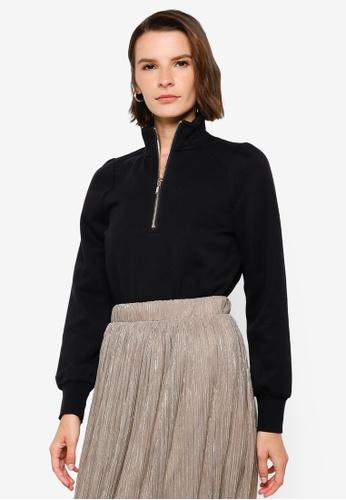 Vero Moda black Lydia Zipper Sweatshirt ACBC1AAF780A9AGS_1