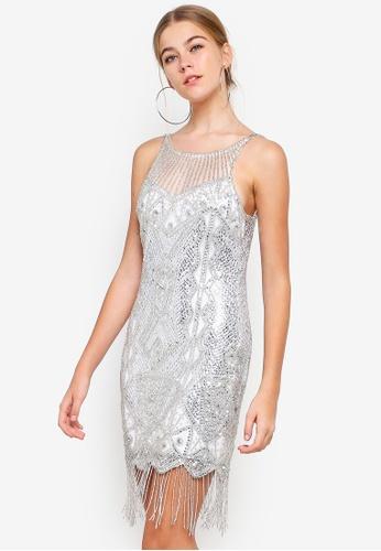 Miss Selfridge silver Silver Fringe Embellished Yoke Mini Dress 29513AA9A360A6GS_1