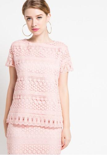 EDITION pink Lace Blouse ED101AA30DUVID_1