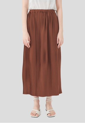 We Enjoy Simplicity red Ana Pleated Long Skirt #Upcycle 23639AA21A920AGS_1