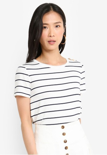 Forever New multi Button Shoulder Stripe Tee 48FE1AA2B35680GS_1