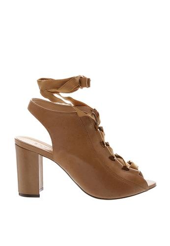 SCHUTZ brown SCHUTZ Lace-up Block Heel Sandal - RENDRIA (DESERT) BC97CSHD8CD0DFGS_1