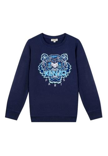 KENZO KIDS blue KENZO TIGER SWEATSHIRT FOR BOYS CD6BEKAA98B862GS_1