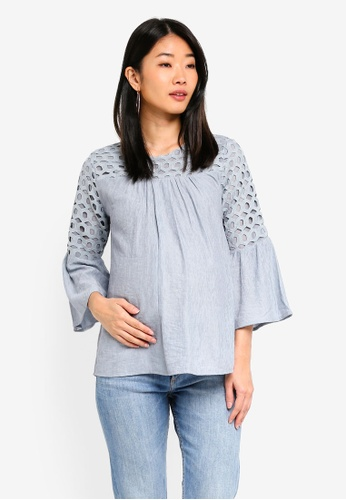 Spring Maternity 灰色 孕婦裝 褶飾上衣 4AC7AAADB5C392GS_1