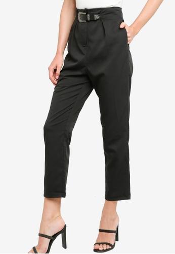 ZALORA WORK black Buckle Detail Tapered Pants 68B27AAD077441GS_1