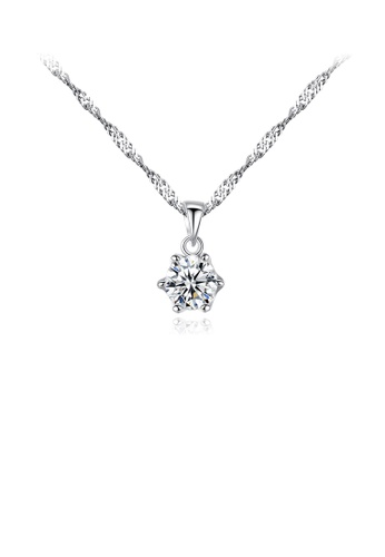 Glamorousky white 925 Sterling Silver Simple and Fashion Geometric Round Pendant with Cubic Zirconia and Necklace 8B37DAC8CA4B25GS_1
