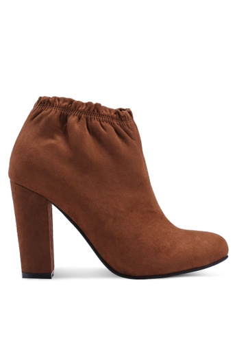 ZALORA brown Heeled Pull String Ankle Boots 68698SH7CF97E1GS_1