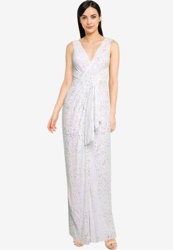 Goddiva white Handkerchief Sequin Maxi Dress With Split AD68BAAA8A38CDGS_1