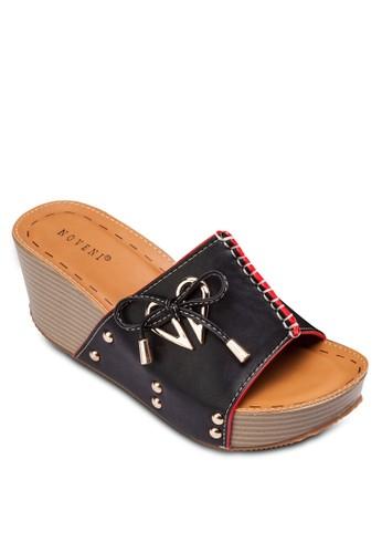 esprit暢貨中心金屬飾繫帶楔形涼鞋, 女鞋, 鞋
