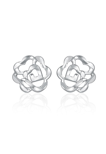 MaBelle silver 14K White Gold Faceted Rose Stud Earrings MA584AC2UQTIHK_1