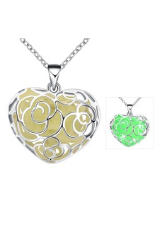YGN065-A Heart Shaped With Night Fluorescent Green Pendant Necklace Party Jewelry