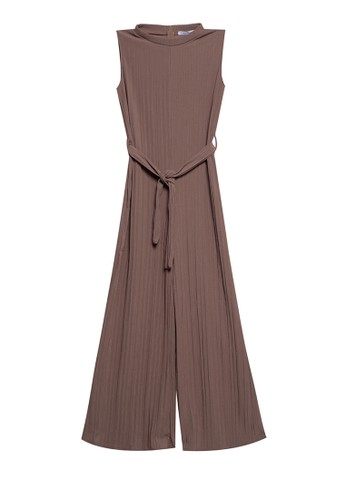 Chic Simple brown Sleeveless T Neck Self Belted Jumpsuit F8DEDAAF7C2A13GS_1