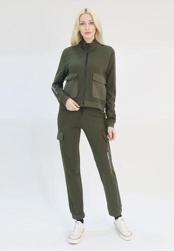 Cheetah green Cheetah Athleisure Ladies  High Neck Jacket - CAL-3646-C1 B442AAA607702AGS_1