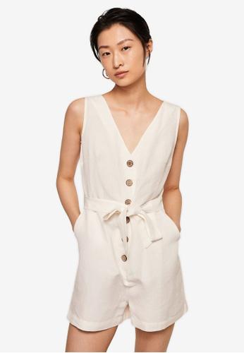 Mango white Bow Linen Jumpsuit F6174AA4FB5EB8GS_1