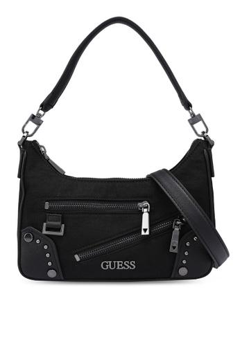 Guess black Frankie Top Zip Shoulder Bag 0CB7AAC48B0BEDGS_1