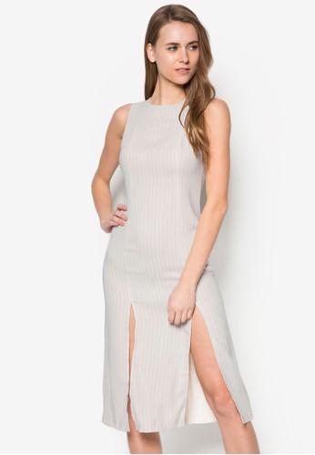 條紋無袖連身裙, 服飾, zalora開箱正式洋裝