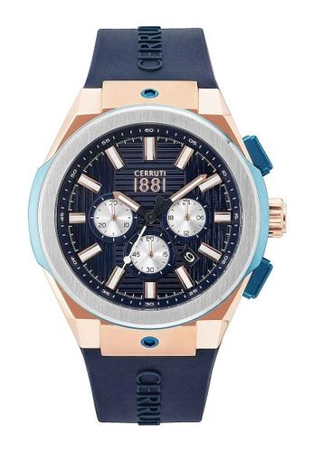 cd350255678 CERRUTI 1881 blue Cerruti 1881 Men RUSCELLO Chronograph Blue Silicon Strap  Rosegold Watch CRA163SRBL03BL 21F07ACD9A7F18GS_1