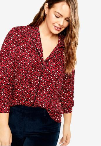 Violeta by MANGO red Plus Size Animal Print Blouse B3401AA52E33B9GS_1