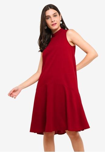 ZALORA 紅色 High Neck A-Line Dress 7E41CAA4EB839CGS_1