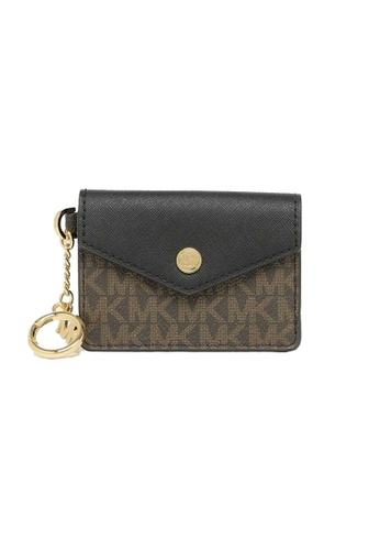 MICHAEL KORS black and beige Michael Kors Kala small Card Holder With Key Ring 35F0GW9D1B Black 8EBD3ACB5F76ECGS_1
