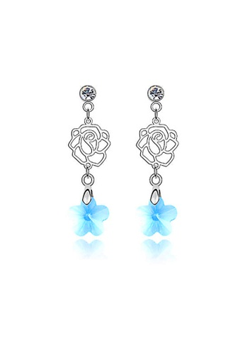 OUXI blue Love of Rose Earrings OU821AC19VGQMY_1