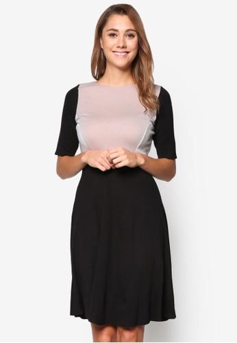 esprit專櫃撞色五分袖洋裝, 服飾, 洋裝