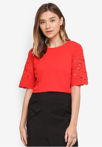 Dorothy Perkins red Red Cutwork Short Sleeve Top 1221DAAB9BAA17GS_1