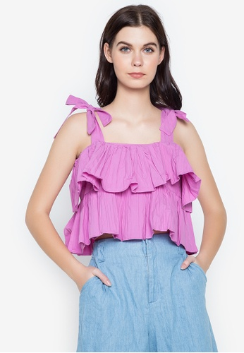 Spring Fling pink Strappy Ruffle Top 5ED9DAA2E67105GS_1