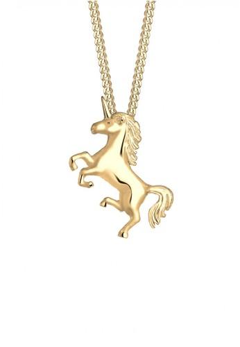 Elli Germany gold Perhiasan Wanita Perak Asli - Silver Kalung Unicorn Magic Gold Plated EL948AC02YINID_1
