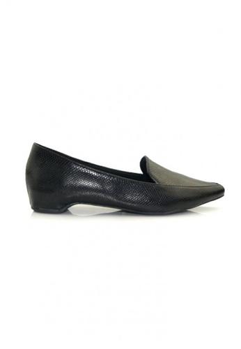 SHINE black Snake Skin Loafers Wedges SH554SH08UWPSG_1