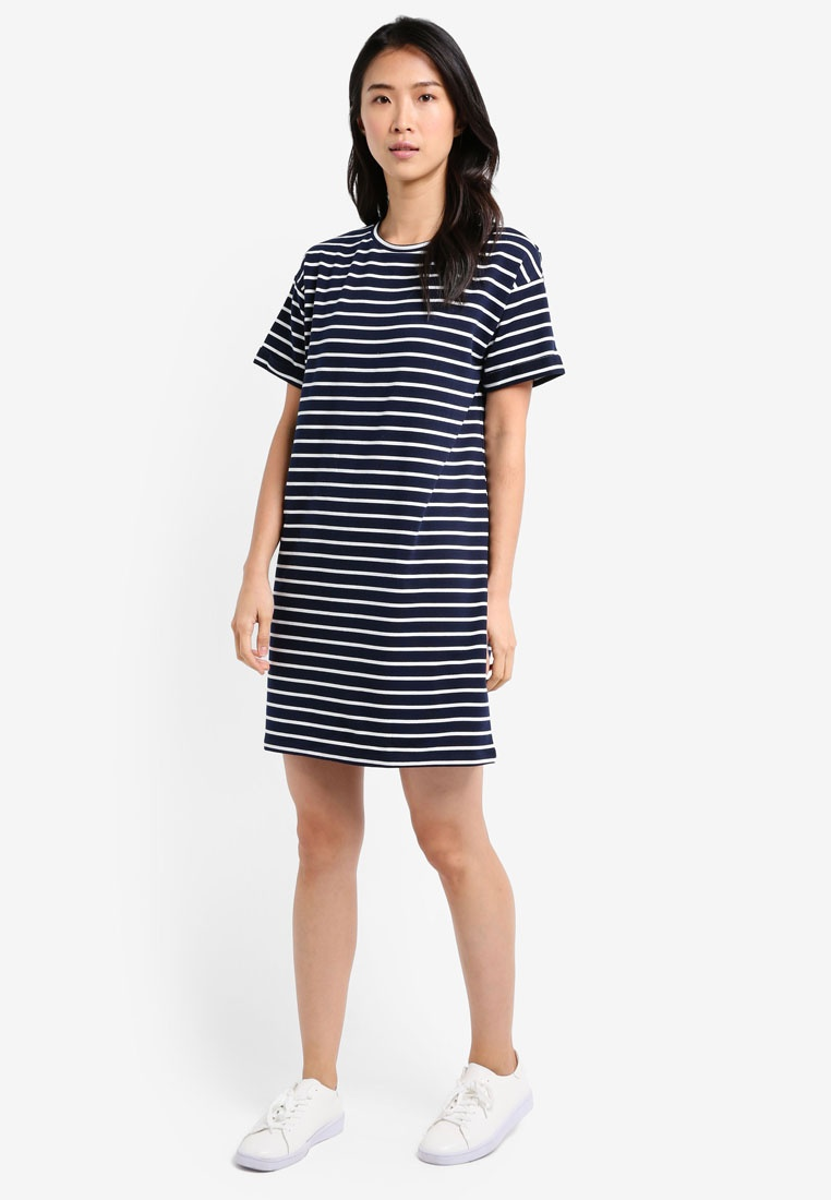 Pack 2 Navy BASICS Shirt amp; ZALORA Essential Dress Stripe White T Black ZddFBq