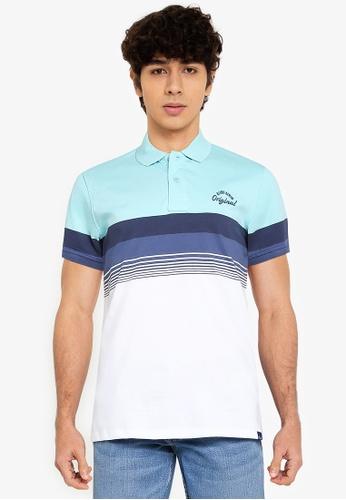BLEND blue Block Stripe Polo Shirt F4ADDAA720E739GS_1