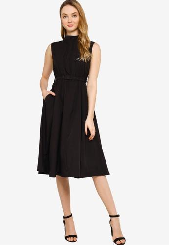 ZALORA WORK black High Neck Pleated Detail Dress FCE4AAAC1D2225GS_1