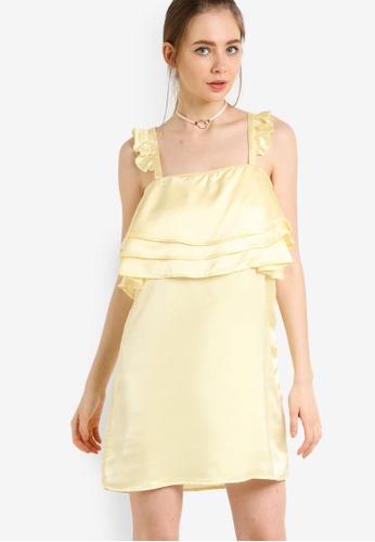 fashion union yellow Frill Dress FA176AA07ROQMY_1