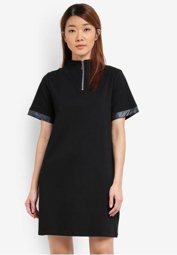 Something Borrowed black Contrast Panel Half Zip Dress 9CC25AA8343724GS_1